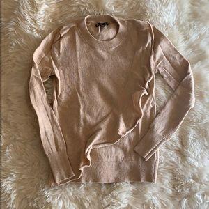 J Crew camel ruffle sweater